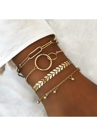 Mother's Day Gifts Layered Metal Chain Gold Bracelet Set - One Size