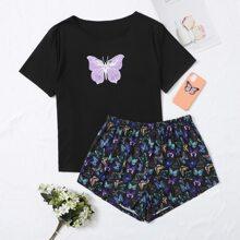 Schlafanzug Set mit Schmetterling Muster und kurzen Ärmeln