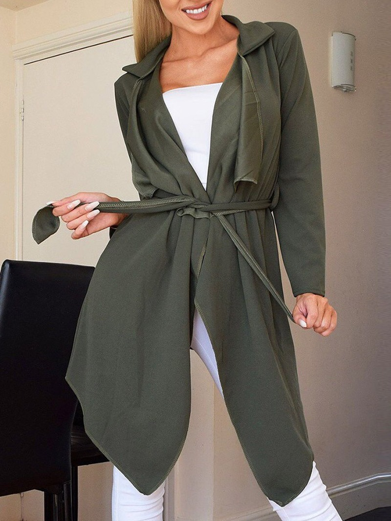 Ericdress Mid-Length Lace-Up Fall Casual Trench Coat