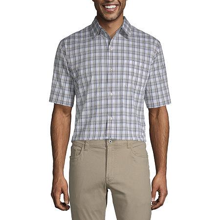 Van Heusen Air Textured Wovens Mens Short Sleeve Moisture Wicking Checked Button-Down Shirt, Large , Black