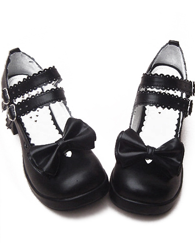 Milanoo Black Chunky Heels Shoes Straps Bow Buckles Hollow Heart