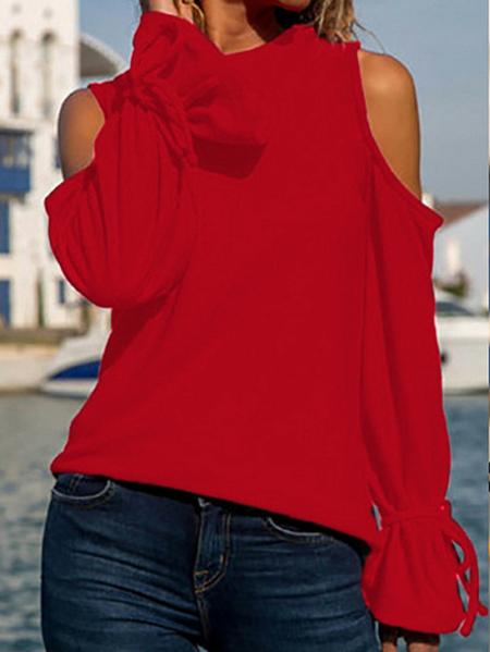 Yoins Tie-up Design Cold Shoulder Long Sleeves Blouse