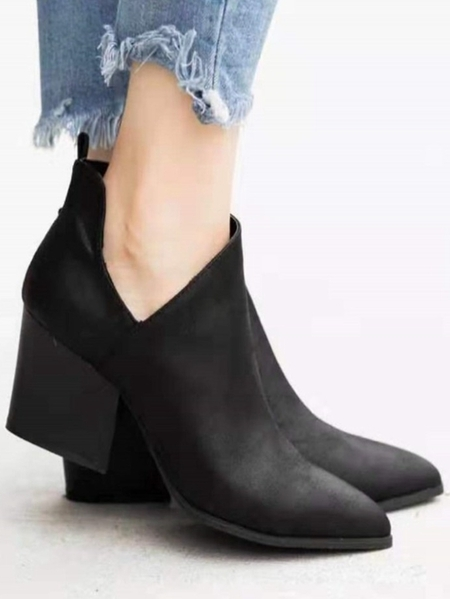 Yoins Pointed Thick Heel Short Boots
