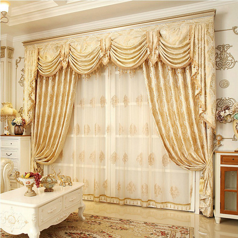 Classic European Style Beige Embroidered Curtain Sheer Decoration