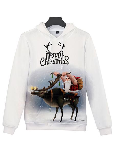 Milanoo Disfraz Halloween Sudadera con capucha navideña unisex Disfraces navideños de manga larga con estampado navideño blanco Carnaval Halloween