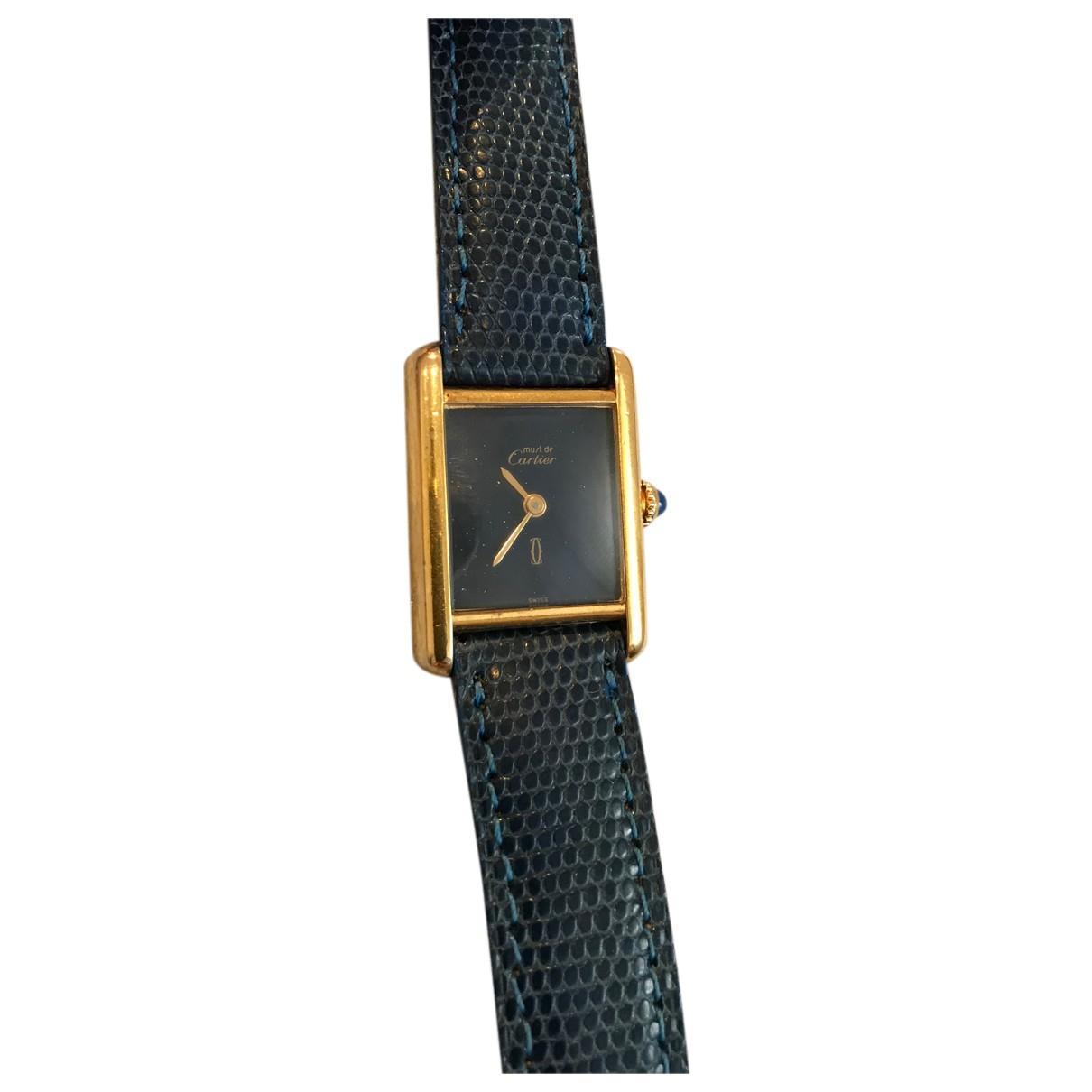 Cartier Tank Must Blue Silver Gilt watch for Women N