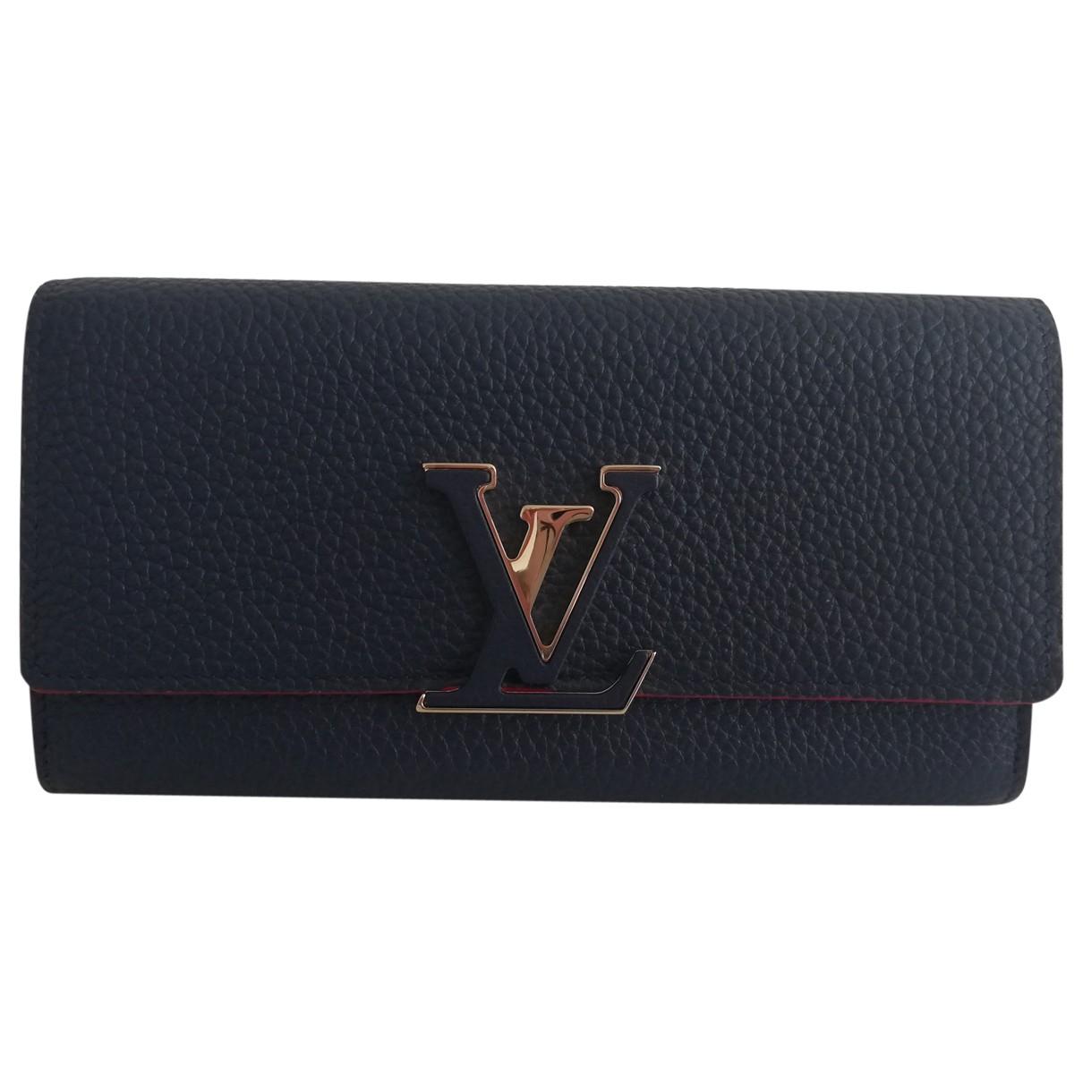 Louis Vuitton - Portefeuille Capucines pour femme en cuir - bleu