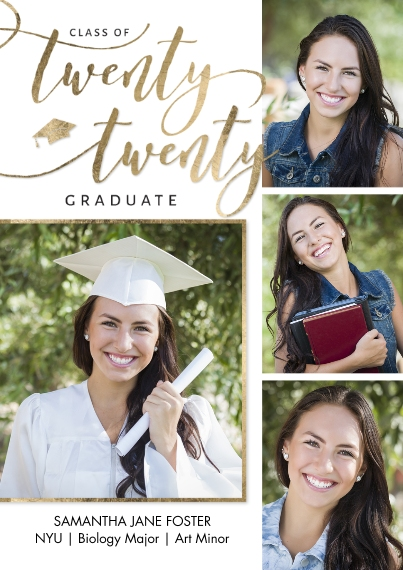 2020 Graduation Announcements Flat Glossy Photo Paper Cards with Envelopes, 5x7, Card & Stationery -Grad Twenty Twenty Memories Script by Tumbalina