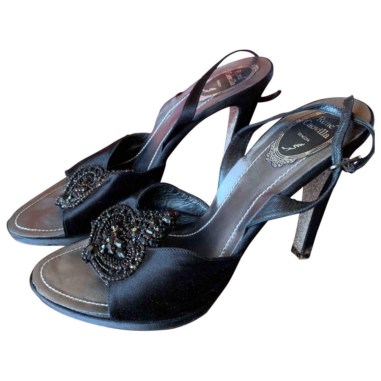 Rene Caovilla - Sandales   pour femme en toile - noir