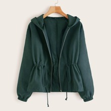 Solid Zip Up Drawstring Hooded Jacket
