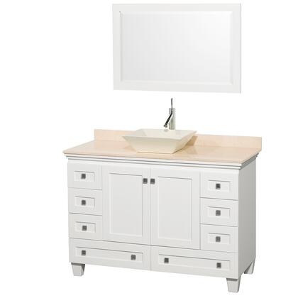 WCV800048SWHIVD2BM24 48 in. Single Bathroom Vanity in White  Ivory Marble Countertop  Pyra Bone Sink  and 24 in.