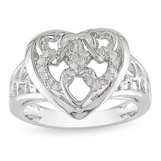 Miadora Sterling Silver 1/10ct TDW Diamond Heart Ring (6.5)