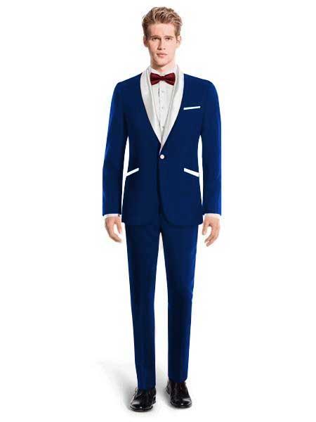 White Lapel Tuxedo Suit Vest Wedding / Prom / Stage Navy Blue