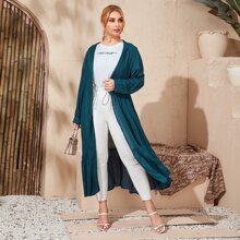 Kimono mit Kordelzug um die Taille, Rueschenbesatz und Kapuze