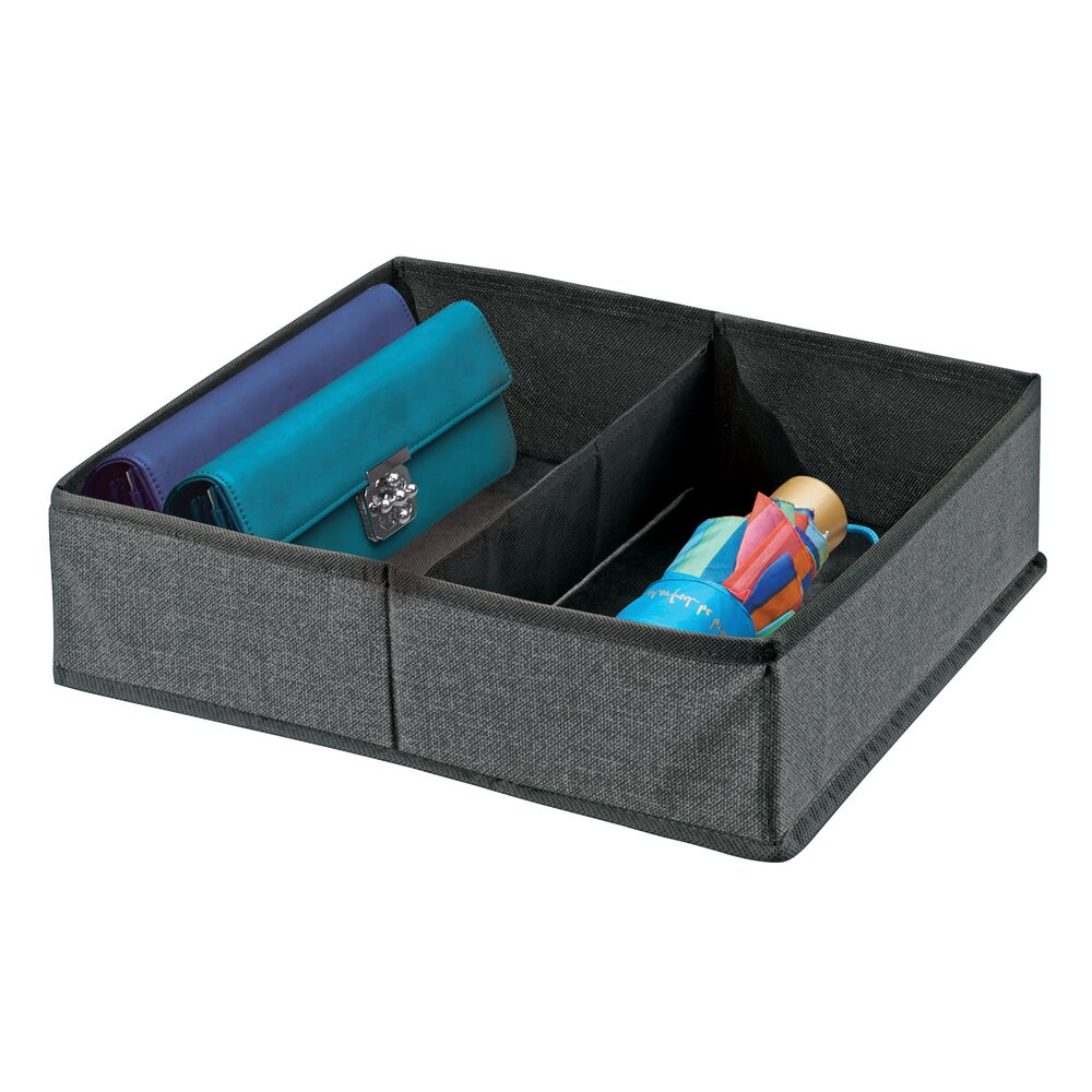2 Section Fabric Divided Dresser Drawer Organizer in Charcoal Gray, 14