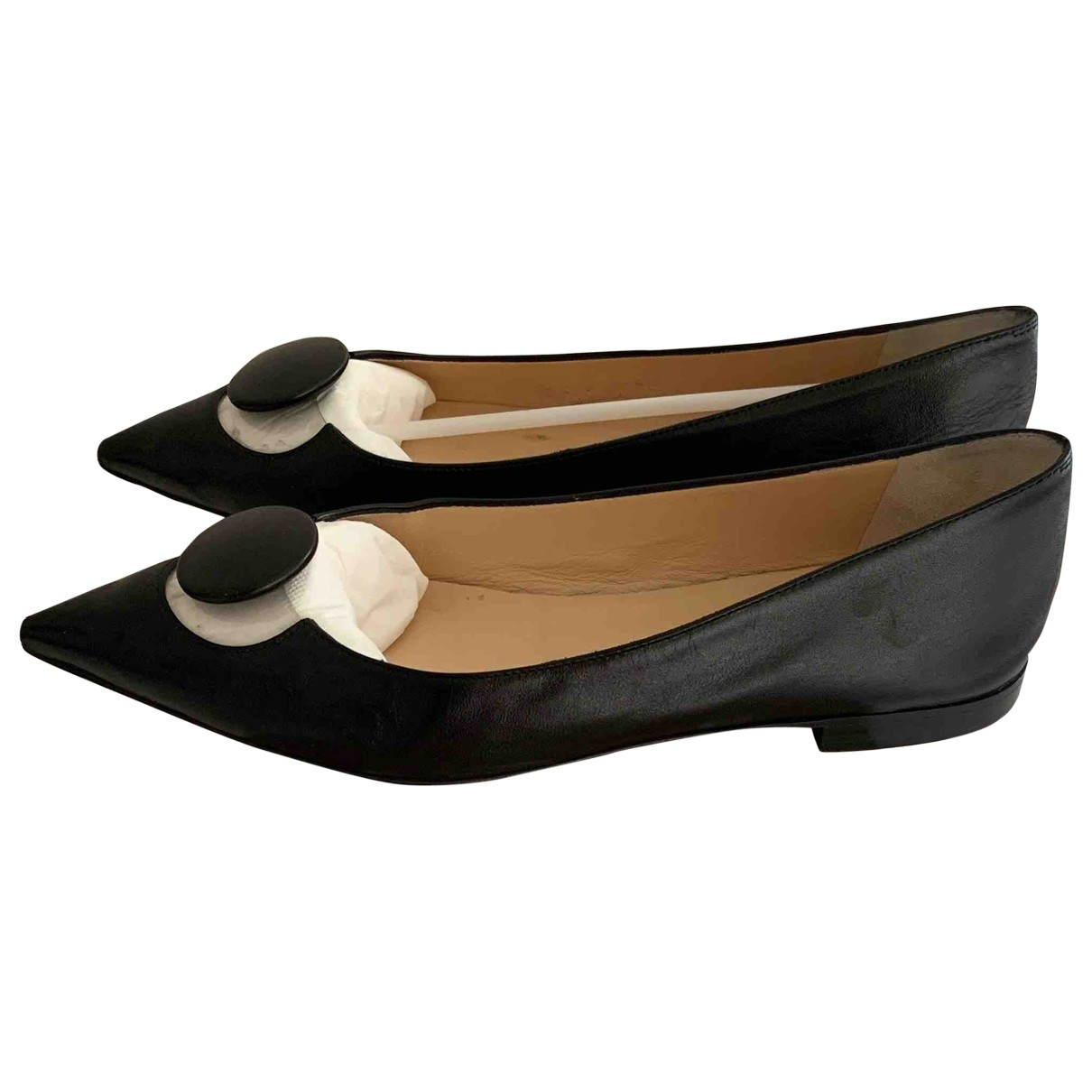 Christian Louboutin \N Black Leather Ballet flats for Women 38.5 EU