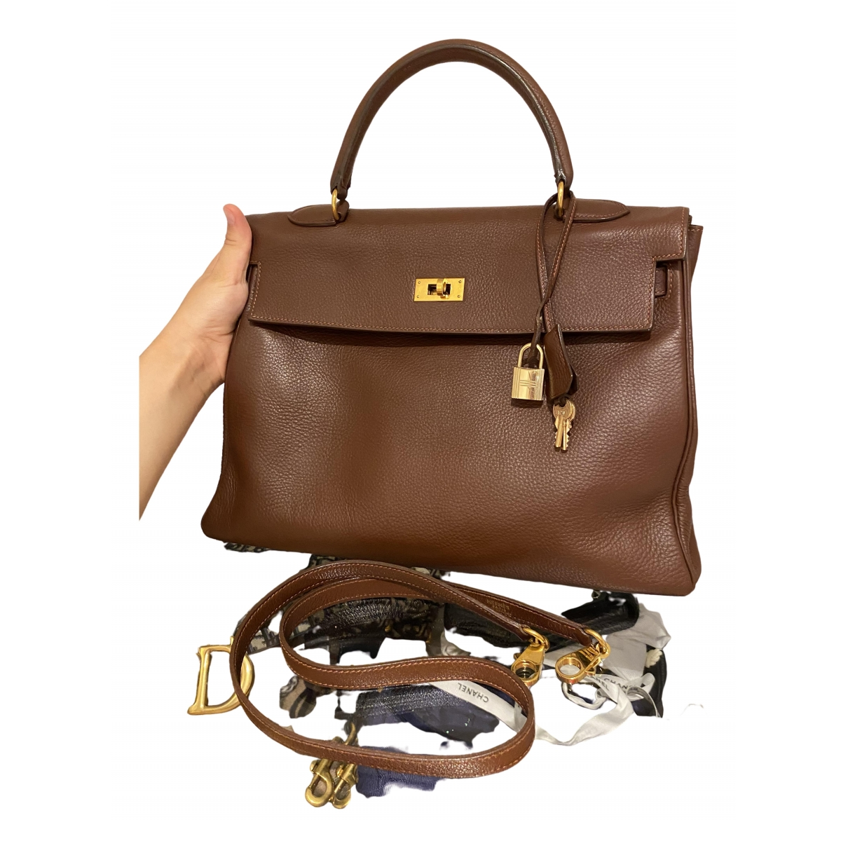 Hermès Kelly 35 Brown Leather handbag for Women \N