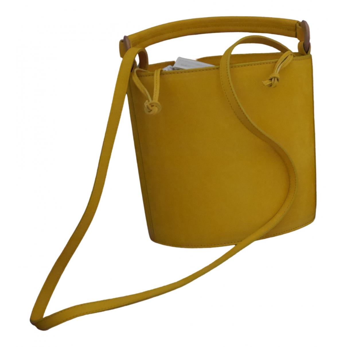 Sezane - Sac a main   pour femme en cuir - jaune