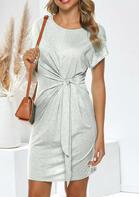 Twist Tie O-Neck Mini Dress - Gray