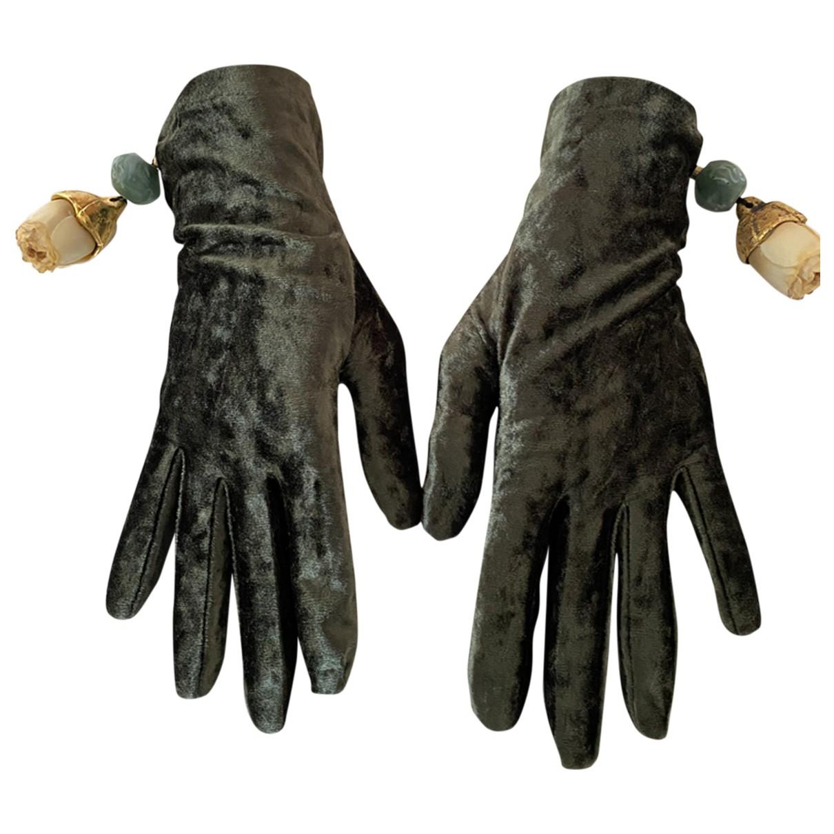 Non Signe / Unsigned \N Handschuhe in  Gruen Samt