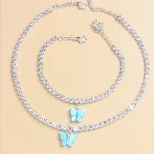 1 pieza collar con mariposa con 1 pieza brazalete