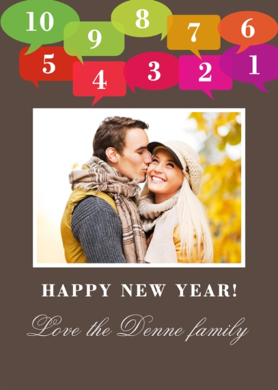 New Years 5x7 Cards, Premium Cardstock 120lb with Elegant Corners, Card & Stationery -Colorful Countdown