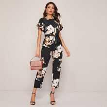 Split Back Cuffed Sleeve Belted Floral Print Jumpsuit