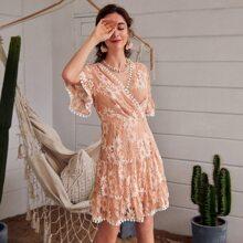 Ruffle Cuff & Hem Lace Dress