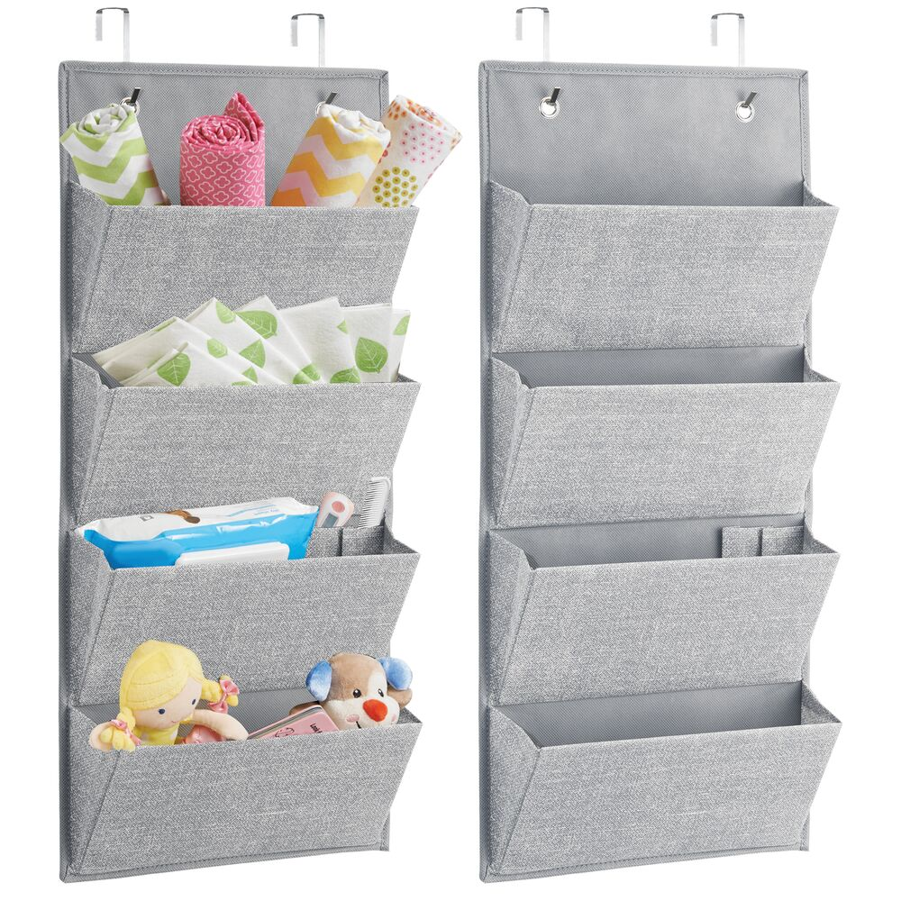Over Door Fabric Printed Hanging Nursery Storage Organizer in Gray, 3