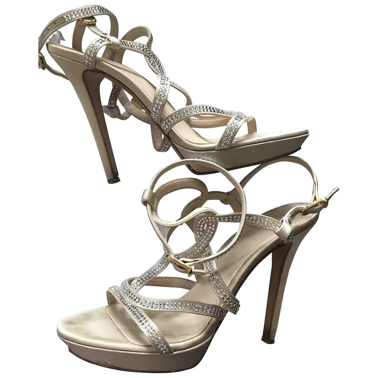 Versace - Sandales   pour femme en cuir - beige