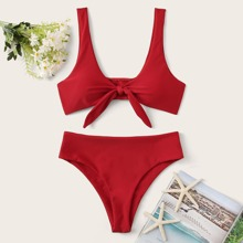 Solid Knot Front Bikini Swimsuit