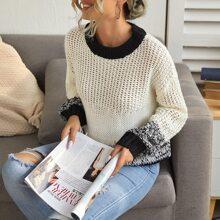 Drop Shoulder Open Knit Sweater