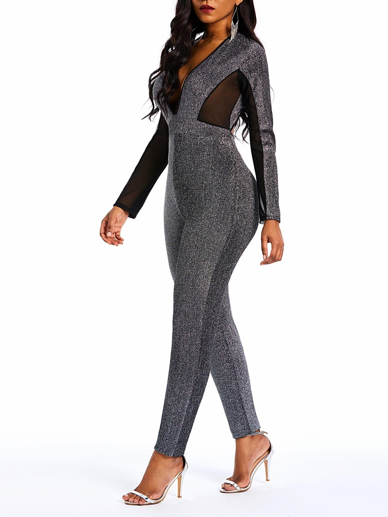 Ericdress Patchwork Fashion See-Through Skinny Lurex Jumpsuit