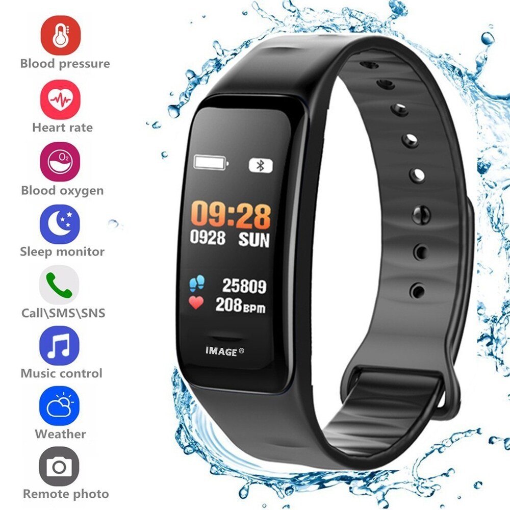 C1 Smart Wrist Watch Black (Green - L)
