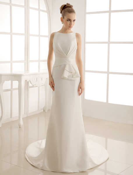 Milanoo Court Train Wedding Dress With Bateau Neck