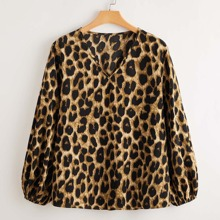 Bluse mit Leopard Muster und V-Kragen