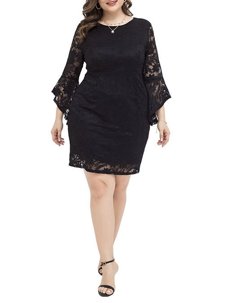 Milanoo Plus Size Dress For Women Black Polyester Long Sleeves Lace Black Dresses