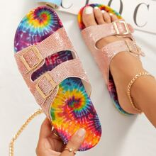 Sandalias de tie dye con doble hebillas