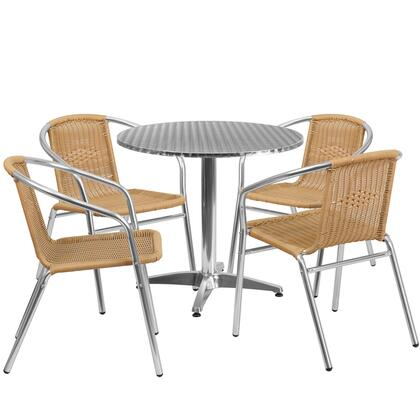 TLHALUM Collection TLH-ALUM-32RD-020BGECHR4-GG 5 Piece Indoor/Outdoor Patio Set with 4 Cafe Chairs  Round Shaped Table  Lightweight Aluminum Frame