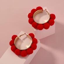 Pom Pom Decor Hoop Earrings