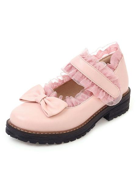 Milanoo Sweet Lolita Footwear Black Bows Volantes Volantes Cuero de PU Tacon Cachorro Zapatos Lolita