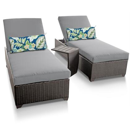 CLASSIC-2x-ST-GREY Classic Chaise Set of 2 Outdoor Wicker Patio Furniture With Side Table with 2 Covers: Wheat and