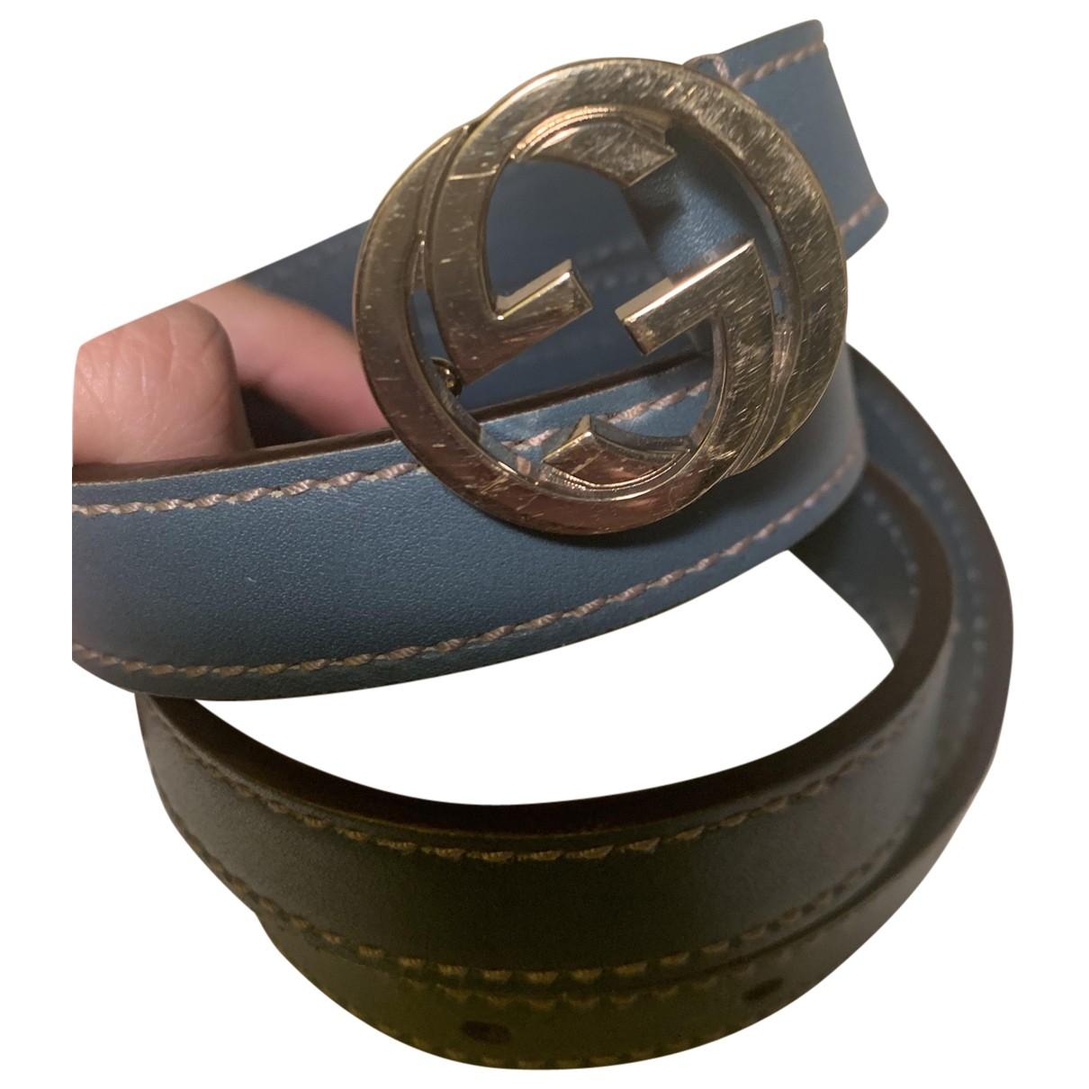 Gucci Interlocking Buckle Guertel in  Blau Leder