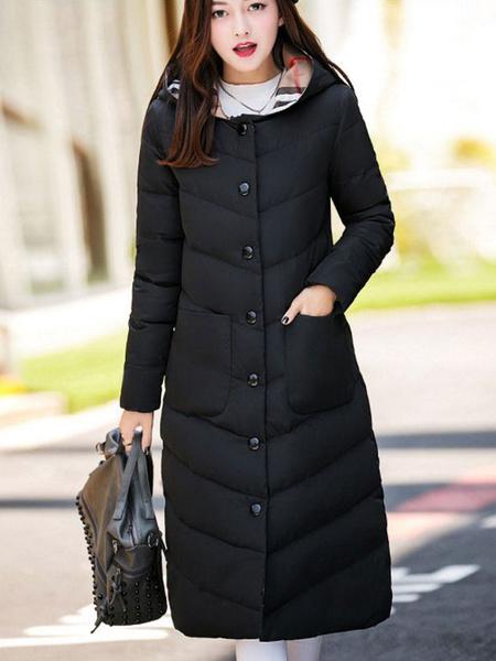 Milanoo Mujeres Puffer Coat Abrigo de invierno con capucha Botones Longline Bubble Coat