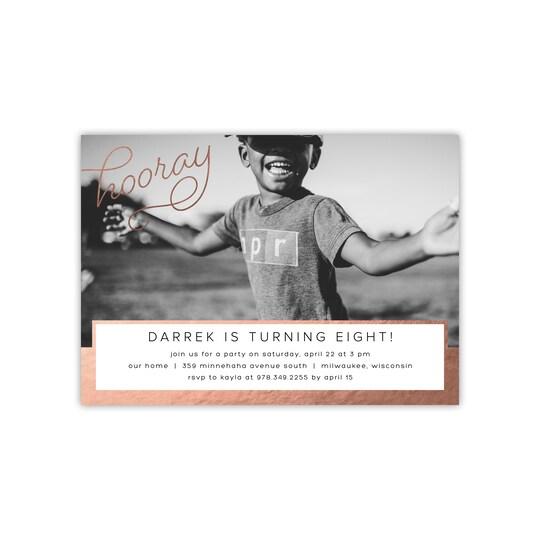 20 Pack of Gartner Studios® Personalized Hooray Flat Foil Kid Invite in Rose Gold   5