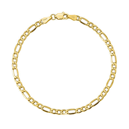 10K Gold 8 Inch Semisolid Figaro Chain Bracelet, One Size , No Color Family