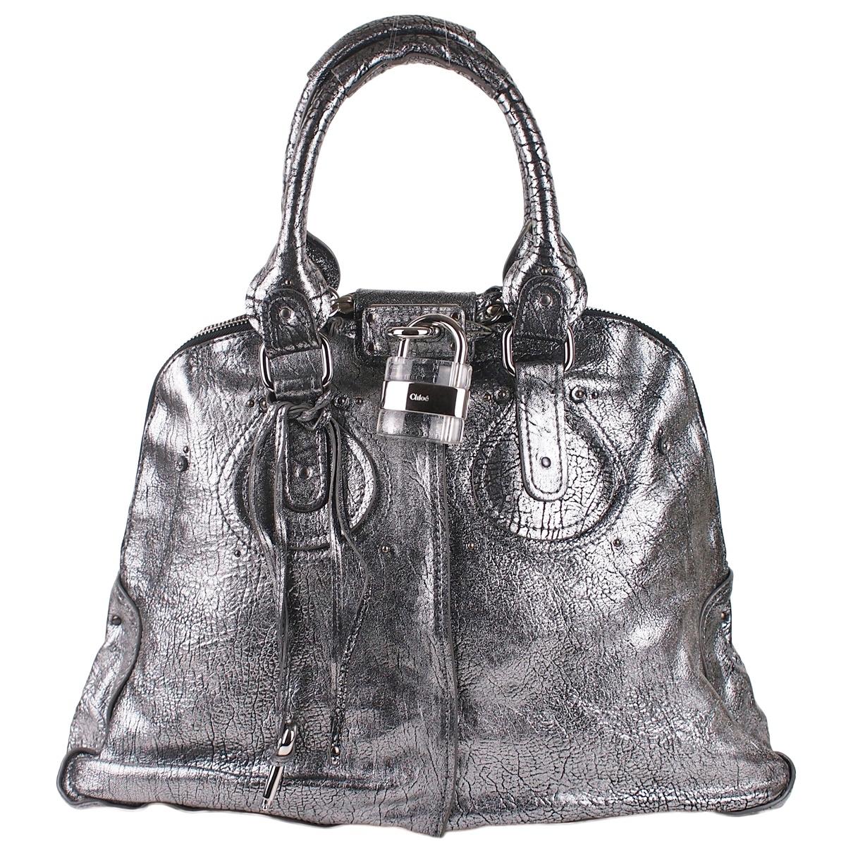 Chloe Paddington Handtasche in  Silber Leder