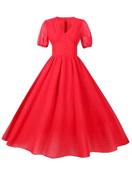 Milanoo Retro Dress 1950s V-Neck Red Short Sleeves Woman\s Long Vintage Dress Swing Dress