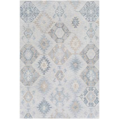 Morse RSE-1004 8' x 10' Rectangle Rustic Rug in Pale Blue  Teal  White  Camel