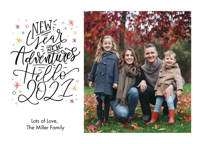 New Year's Photo Cards 5x7 Cards, Premium Cardstock 120lb with Rounded Corners, Card & Stationery -New Adventures